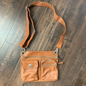 Roots Canada Camel Brown Leather Crossbody Bag